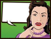 Ama de casa confusa del estilo cómico Imagenes de archivo