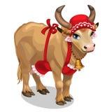 Ama de casa de la vaca en casquillo y delantal rojos Vector Fotografía de archivo libre de regalías