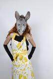 Ama de casa del burro en vestido de noche Foto de archivo