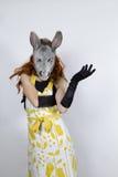 Ama de casa del burro en vestido de noche Imagenes de archivo