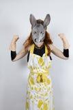 Ama de casa del burro en vestido de noche Imágenes de archivo libres de regalías