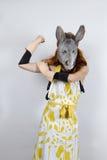 Ama de casa del burro en vestido de noche Fotos de archivo libres de regalías