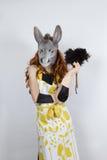 Ama de casa del burro en vestido de noche Imagen de archivo