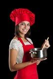 Ama de casa en la cocina Fotografía de archivo libre de regalías