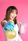 Ama de casa feliz con el aerosol Imágenes de archivo libres de regalías