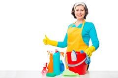 Ama de casa feliz e y un cubo de agentes de limpieza imagen de archivo