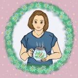 Ama de casa hermosa con una taza de ejemplo de la trama del té ilustración del vector