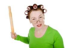 Ama de casa loca enojada Imagen de archivo libre de regalías