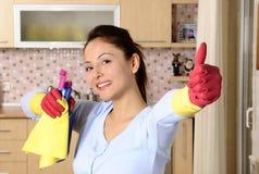 ama de casa que limpia la casa Foto de archivo libre de regalías