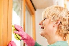 Ama de casa que limpia sus ventanas en los guantes de goma Imágenes de archivo libres de regalías