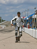 AMA Pro Road Racing:  August 01 Tornado Nationals. AMA racer, Aaron Yates, walks up pit road before for the running of the Tornado Nationals presented by Stock Photo