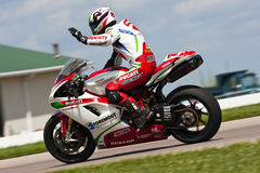 AMA Pro Road Racing:  August 01 Tornado Nationals. Larry Pegram wins for the second time this season at Heartland Park Topeka during the running of the Tornado Royalty Free Stock Images