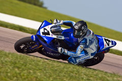 AMA Pro Road Racing:  August 02 Tornado Nationals. AMA Superbike racer, Josh Hayes, travels through the turns at the Tornado Nationals presented by BriggsAuto Royalty Free Stock Photos