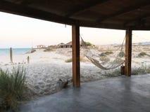 Amaca della spiaggia nel Messico Fotografia Stock