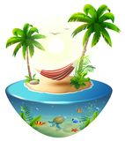 Amaca a strisce fra le palme sull'isola tropicale Vacanza della spiaggia di paradiso in Hawai illustrazione vettoriale
