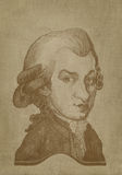 Amadeus Mozart Caricature sepia engraving royalty free stock images