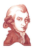 Amadeus Mozart Caricature Sketch Royalty Free Stock Photos