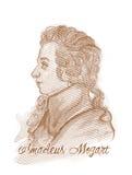 Amadeus Mozart Engraving Style Portrait Stock Images