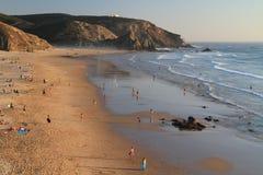 Amado Beach. At sunset Carrapateira, Algarve, Portugal stock image