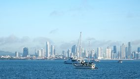 Amador. Several boats anchored near Amador Causeway with the ever growing City of Panama in the background Stock Images