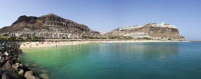 amadores海滩canaria gran全景 库存照片