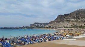 Amadores海滩,大加那利岛,西班牙 免版税库存照片