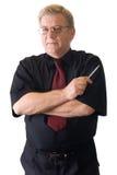 Amadureça o professor ou o homem de negócios de sorriso isolado no branco imagens de stock