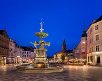 Amagertorv广场和鹳喷泉在老镇 库存照片
