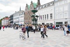 Amagertorv - centraal vierkant in Kopenhagen Royalty-vrije Stock Foto's
