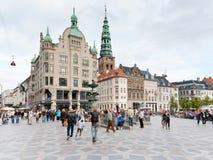Amagertorv - centraal vierkant in Kopenhagen Royalty-vrije Stock Foto