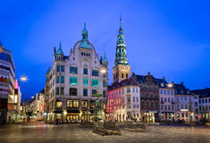 Amagertorv Square and Stork Fountain in the Old Town Royalty Free Stock Image