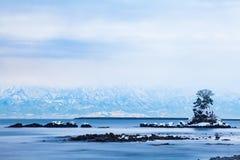 Amaharashi coast and Tateyama mountains range Stock Image