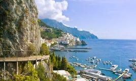 Amalfi, прибрежный взгляд, Италия Стоковые Фотографии RF