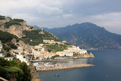 Amalfi along the Tyrrhenian coast in Italy Royalty Free Stock Photos