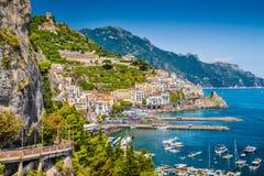 Amalfi, Amalfi Coast, Campania, Italy. Scenic picture-postcard view of the beautiful town of Amalfi at famous Amalfi Coast with Gulf of Salerno, Campania, Italy stock images