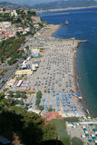 Amalfi beach in Italy. Beach on the Amalfi coast,in Italy,with beautiful blue & aqua colored water of the Tyrrenian Sea Royalty Free Stock Images