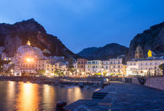 Amalfi and beach by night, Campania Italy Royalty Free Stock Image