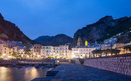 Amalfi and beach by night, Campania Italy Royalty Free Stock Photography