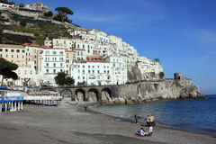 Amalfi beach and Positano village Stock Photography