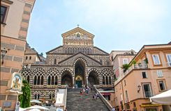 Amalfi cathedral. At Amalfi- Italy - On July 2018 - Medieval cathedral of St. Andrew stock photo