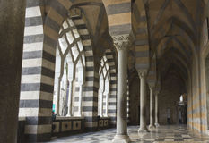 Amalfi Cathedral, external colonnade. Stock Image