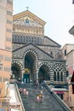 Amalfi cathedral. At Amalfi- Italy - On July 2018 - Medieval cathedral of St. Andrew stock photos