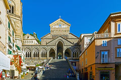 Amalfi cathedral. With people in a sunny day Stock Photos