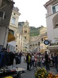 Amalfi cathedral and square, Amalfi Coast, Italy. Crouds in front Stock Image
