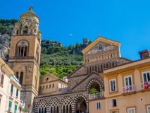 Amalfi Cathedral. View of the ancient Roman Catholic cathedral in the Piazza del Duomo, Amalfi, Italy Stock Image