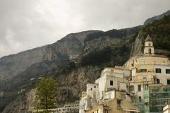 Amalfi cityscapes 1, Italy. Houses and church on the mountain slope of Amalfi, Italy royalty free stock photos