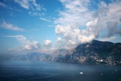 Amalfi coast. Sommer view from Praiano to the coast in Italy Royalty Free Stock Image