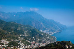 Amalfi coast. Of Italy, a top view of the mountains, towns and the sea Stock Images