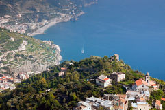 Amalfi coast. Of Italy, a top view of the mountains, towns and the sea Royalty Free Stock Image