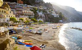 Amalfi Coast - Beach in Positano town. Italy royalty free stock image